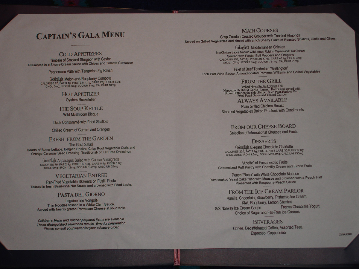 On The Seas Ncl Dawn 2005 Menus And Ncl Freestyle Dailys